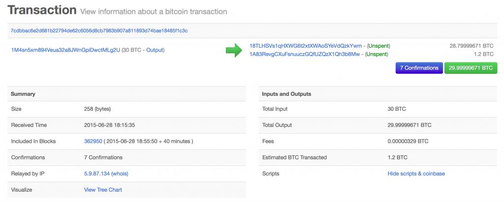 Bitcoin transaction detail