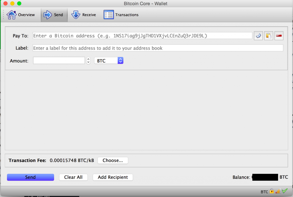 "Bitcoin Core-Registerkarte ""Senden"""