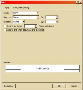 Font dialog box in Word