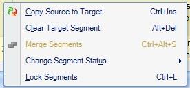 Context menu for selection