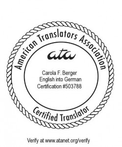 ATA Certification 503788 English into German