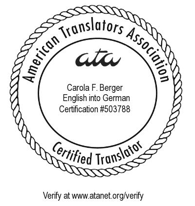 ATA-Certified Translator English into German and German into English