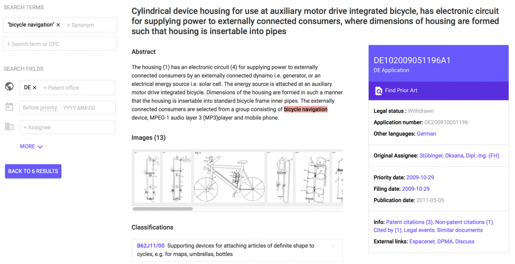 Single patent display in Google Patents