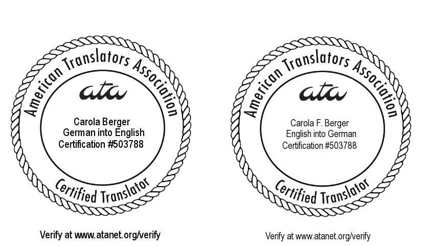 ATA-certified English into German and German into English