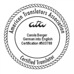 ATA-zertifiziert Deutsch nach Englisch