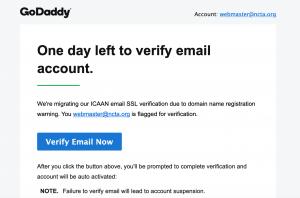 Eine Phishing-E-Mail an mich in meiner Kapazität als NCTA-Webmaster