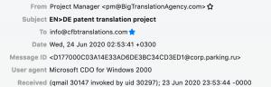 Dieselbe E-Mail mit erweitertem Header